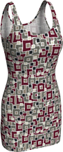 Load image into Gallery viewer, The Marguerite Fitted Dress in Neutral and Maroon