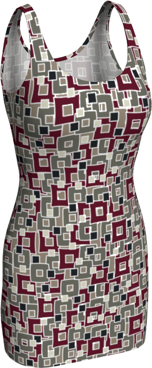 The Marguerite Fitted Dress in Neutral and Maroon