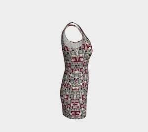 The Marguerite Fitted Dress in Neutral and Maroon-Clash Patterns