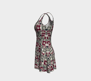The Marguerite Flare Dress in Neutral and Maroon-Clash Patterns