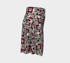 The Marguerite Flare Skirt in Neutral and Maroon-Clash Patterns