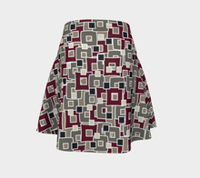 Load image into Gallery viewer, The Marguerite Flare Skirt in Neutral and Maroon-Clash Patterns