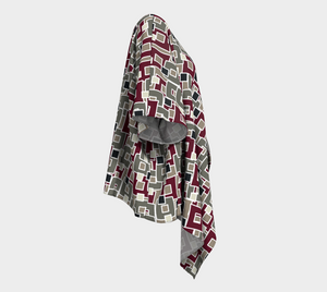The Marguerite Kimono in Neutral and Maroon-Clash Patterns
