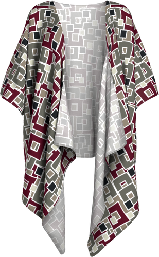 The Marguerite Kimono in Neutral and Maroon-Draped Kimono-Clash Patterns by Jennifer Akkermans