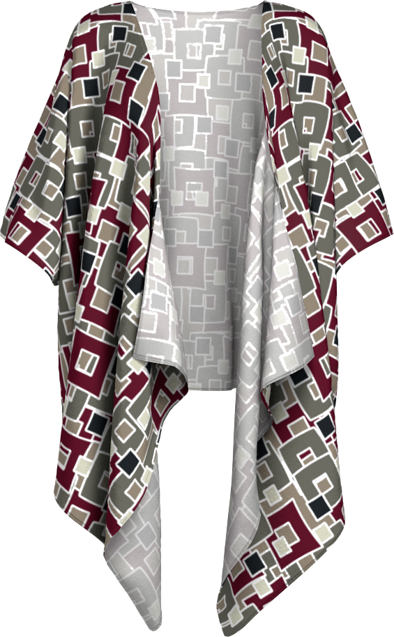 The Marguerite Kimono in Neutral and Maroon
