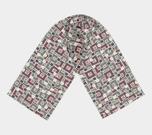 The Marguerite Long Scarf in Neutral and Maroon-Clash Patterns