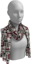 Load image into Gallery viewer, The Marguerite Long Scarf in Neutral and Maroon