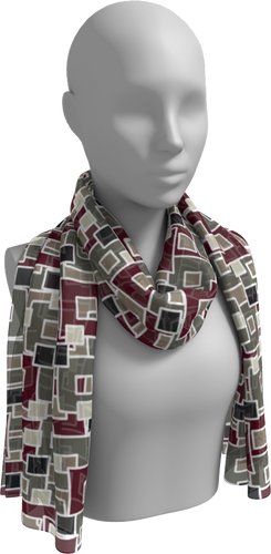 The Marguerite Long Scarf in Neutral and Maroon-Long Scarf-Clash Patterns by Jennifer Akkermans