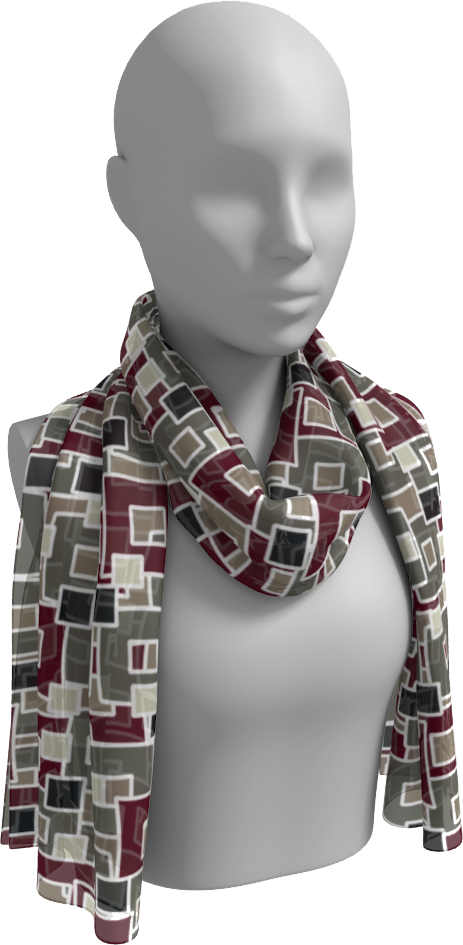 The Marguerite Long Scarf in Neutral and Maroon