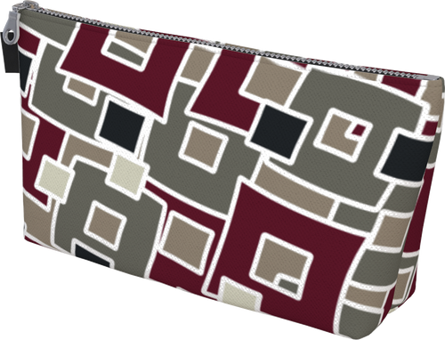 The Marguerite Makeup Bag in Neutral and Maroon-Makeup Bag-Clash Patterns by Jennifer Akkermans