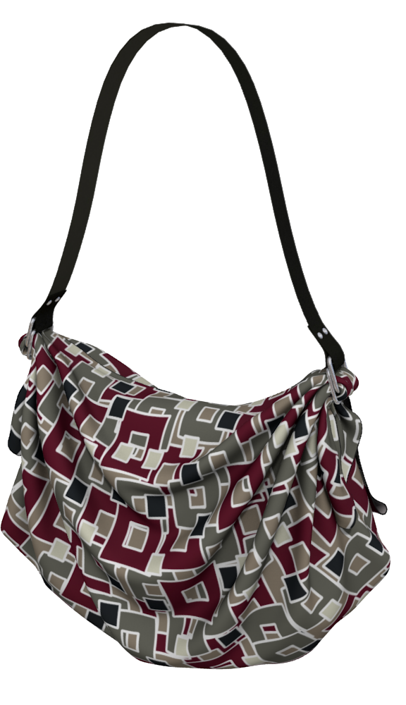 The Marguerite Origami Bag in Neutral and Maroon-Origami Tote-Clash Patterns by Jennifer Akkermans
