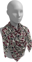Load image into Gallery viewer, The Marguerite Square Scarf in Neutral and Maroon