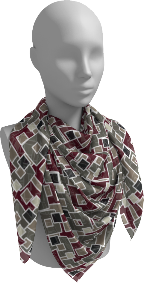 The Marguerite Square Scarf in Neutral and Maroon