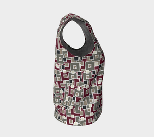 The Marguerite Tank Top in Neutral and Maroon-Clash Patterns