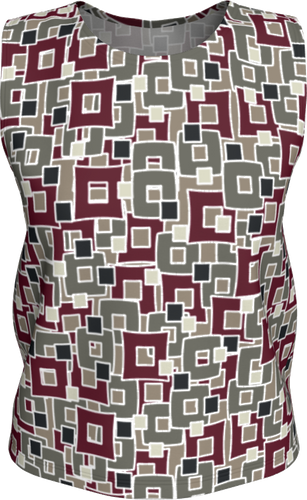 The Marguerite Tank Top in Neutral and Maroon-Loose Tank Top (Regular)-Clash Patterns by Jennifer Akkermans