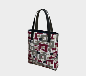 The Marguerite Tote Bag in Neutral and Maroon-Clash Patterns
