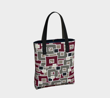 Load image into Gallery viewer, The Marguerite Tote Bag in Neutral and Maroon-Clash Patterns