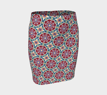 Load image into Gallery viewer, The Marianne Fitted Skirt in Red-Clash Patterns