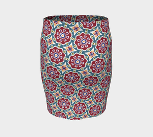 The Marianne Fitted Skirt in Red-Clash Patterns