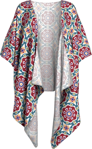 The Marianne Kimono in Red-Draped Kimono-Clash Patterns by Jennifer Akkermans
