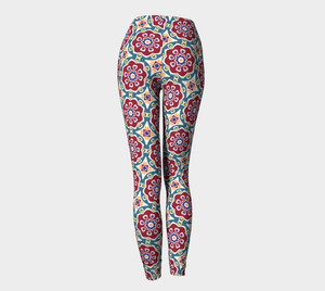 The Marianne Leggings in Red-Clash Patterns