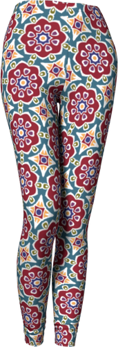 The Marianne Leggings in Red-Leggings-Clash Patterns by Jennifer Akkermans