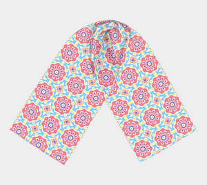 The Marianne Long Scarf in Pink-Clash Patterns