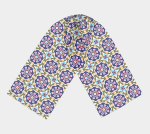 The Marianne Long Scarf in Purple-Clash Patterns