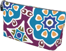 Load image into Gallery viewer, The Marianne Makeup Bag in Blue-Makeup Bag-Clash Patterns by Jennifer Akkermans