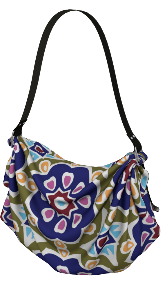 The Marianne Origami Bag in Purple-Origami Tote-Clash Patterns by Jennifer Akkermans