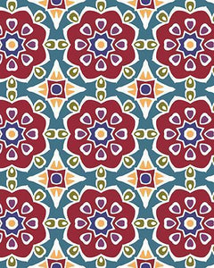 The Marianne Print-at-Home Art Print in Red (Tiled) - Digital Download-Clash Patterns