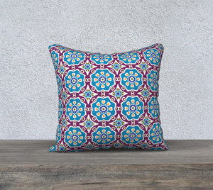 The Marianne Reversible Pillow in Blue-Clash Patterns