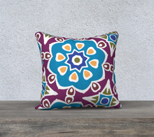 Load image into Gallery viewer, The Marianne Reversible Pillow in Blue-Clash Patterns