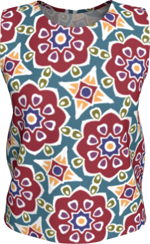 The Marianne Tank Top in Red-Loose Tank Top (Regular)-Clash Patterns by Jennifer Akkermans
