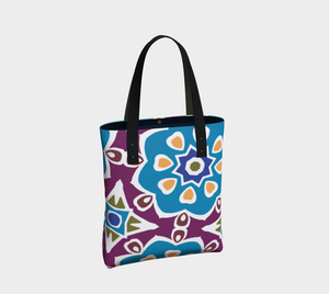 The Marianne Tote Bag in Blue-Clash Patterns