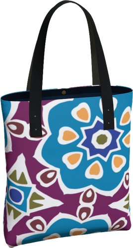 The Marianne Tote Bag in Blue-Tote Bag-Clash Patterns by Jennifer Akkermans