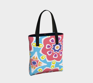 The Marianne Tote Bag in Pink-Clash Patterns