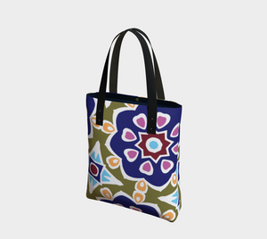 The Marianne Tote Bag in Purple-Clash Patterns