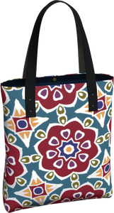 The Marianne Tote Bag in Red-Tote Bag-Clash Patterns by Jennifer Akkermans