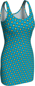 The Moira Fitted Dress in Blue and Yellow