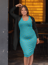 Load image into Gallery viewer, The Moira Fitted Dress in Blue and Yellow-Clash Patterns