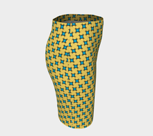 Load image into Gallery viewer, The Moira Fitted Skirt in Yellow and Blue-Clash Patterns