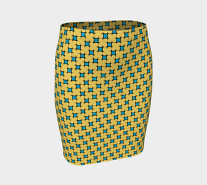The Moira Fitted Skirt in Yellow and Blue-Clash Patterns