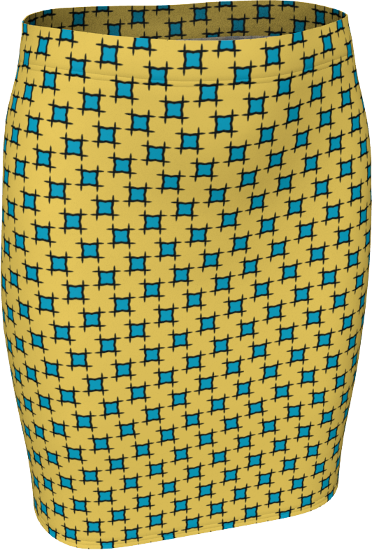The Moira Fitted Skirt in Yellow and Blue