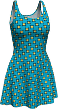 Load image into Gallery viewer, The Moira Flare Dress in Blue and Yellow