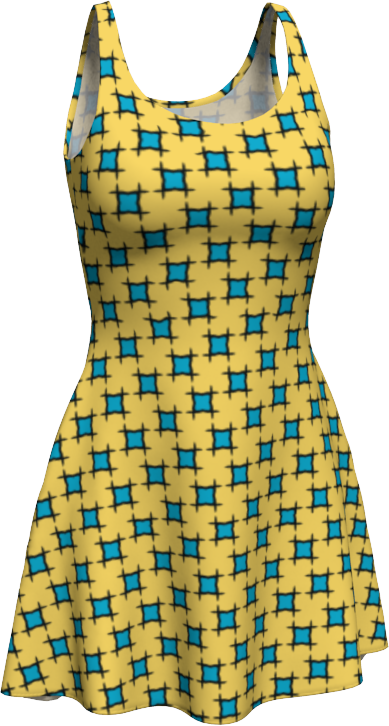 The Moira Flare Dress in Yellow and Blue