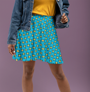 The Moira Flare Skirt in Blue and Yellow-Clash Patterns