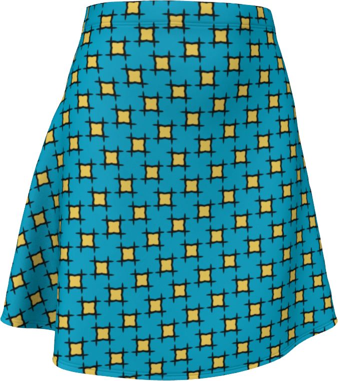 The Moira Flare Skirt in Blue and Yellow