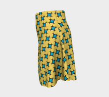 Load image into Gallery viewer, The Moira Flare Skirt in Yellow and Blue-Clash Patterns