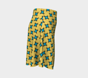 The Moira Flare Skirt in Yellow and Blue-Clash Patterns